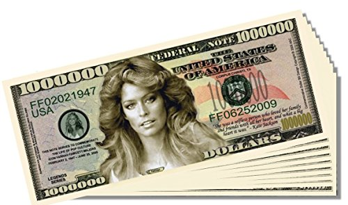 Farrah Fawcett Novelty Million Dollar Bill - 10 Count with Bonus Clear Protector & Christopher Columbus Bill