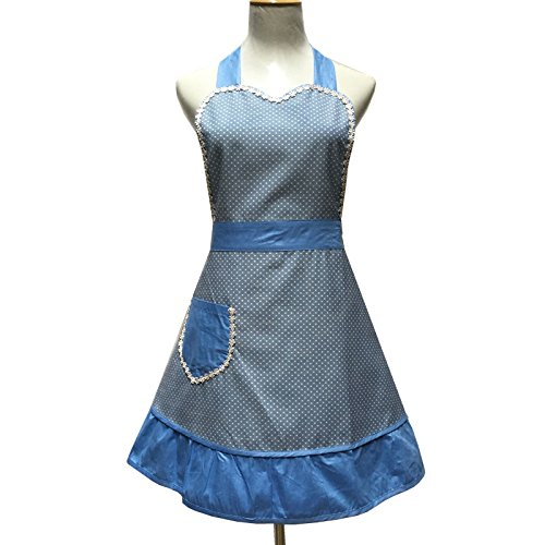 Lovely Sweetheart Retro Kitchen Aprons Woman Girl Cotton Cooking Salon Pinafore Vintage Apron Dress with Pocket,Blue 1