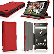 buy Igadgitz Premium Folio Red Pu Leather Case Cover For Sony Xperia Z5 E6603 With Multi-Angle Viewing Stand + Screen Protector