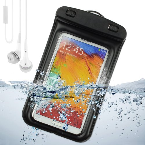 Sumaclife Waterproof Pouch Case For Samsung Galaxy Note 3 / Samsung Galaxy Note 2 / Galaxy S4 (Black) + White Vangoddy Earphones With Mic