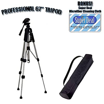 PROFESSIONAL 67 Inch Full Size Tripod with Carrying Case For The Panasonic Lumix DMC-FZ28 , DMC-FZ30 , DMC-FZ50 , DMC-FZ7 , DMC-FZ8 , DMC-FZ18 Digital Cameras with Exclusive FREE Complimentary Super Deal Micro Fiber Lens Cleaning Cloth