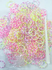 300 Two Tone Stripped Colourful Loom Refill Bands with S Clips & Knotted Tool Hook