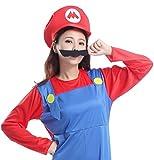 【コスプレ】 パーティーフリークGO!GO! スーパー 赤いつなぎ 大人用 3点セット ( 衣装 + 帽子 + ひげ )(フリーサイズ)