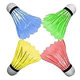 [4-Pack]OuTera LED Badminton Shuttlecock Dark Night Glow Birdies Lighting For Outdoor & Indoor Sports Activities[1 Year Warranty]