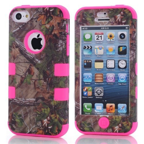 Best  KINGCO 3-Piece Real Tree Camouflage Camo Design Hybrid High Impact Protective Case Combo for Apple iPhone 5C (Hot Pink)
