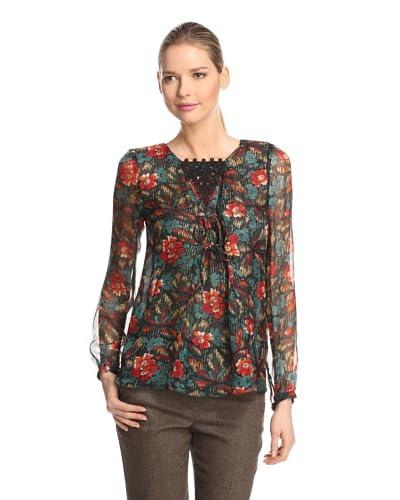 Anna Sui Women's Fauve Floral Print Gauze Top