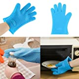 "1 Pc Heat Resistant Textured ""HOKIPO"" Brand Non-Slip Silicone Hand Gloves with Five Fingers - For BBQ Grills, Ovens, Kitchen Accessory, Baking Tool (Random Colors)"