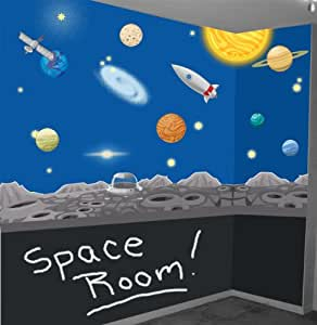 Space wall mural decals solar system wall for Amazon wall mural