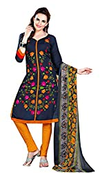 Nazaquat Black Printed Crepe Unstitched Dress Material