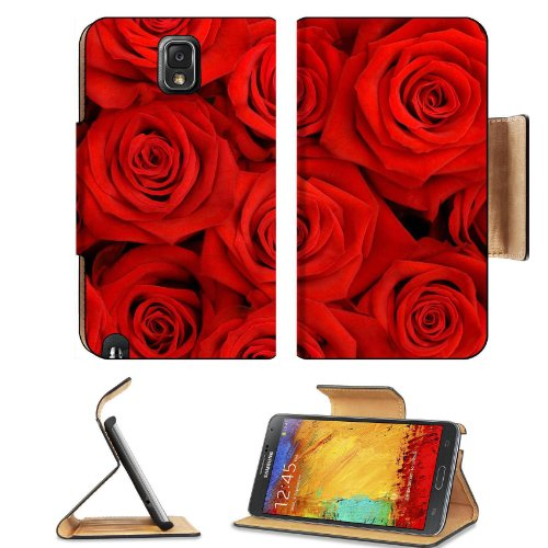 Batch Red Roses Petals Flowers Blossoming Fragrant Love Present Samsung Galaxy Note 3 N9000 Flip Case Stand Magnetic Cover Open Ports Customized Made To Order Support Ready Premium Deluxe Pu Leather 5 15/16 Inch (150Mm) X 3 1/2 Inch (89Mm) X 9/16 Inch (14 front-809003