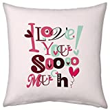 Valentine Gifts for Boyfriend Girlfriend Love Printed Cushion 12X12 Filled Pillow Light Pink I love You Sooo Much Gift for Her Wife Birthday Anniversary Everyday