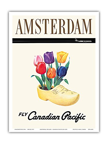 Amsterdam, Holland - Fly Canadian Pacific Air Lines - Dutch Tulips in a Wooden Clog - Vintage Airline Travel Poster - Master Art Print - 9in x 12in Amsterdam Island