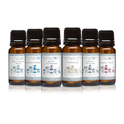 Premium Grade Fragrance Oil - Fresh Summer - Gift Set 6/10ml Bottles - Baby Powder, Fresh Cotton, Ocean Breeze, Sweet Pea, Mountain Rain, Vanilla (Ocean Breeze Scent compare prices)