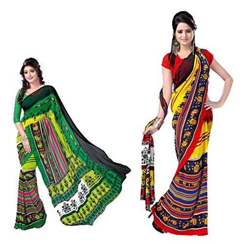 ANSS Set of 2 Beautiful Faux Georgette Sarees -Multi color