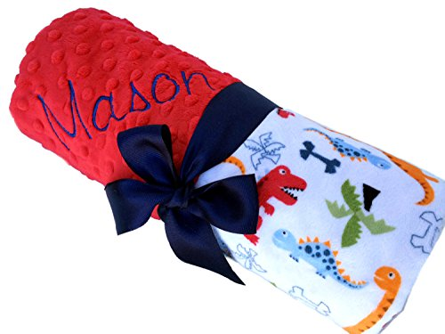 Dinosaur Minky Baby Blanket With Red Minky Back Personalized Blanket