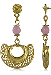 Embossed Tairona Nose Ring with Pink Quartz Dangle Earrings