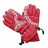 BXT Women's Lined Waterproof velour Winter Ski Gloves with Velcro Closure
