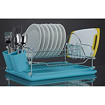 egouttoir vaisselle en en acier chrom plateau et porte porte couverts blancs cuisine. Black Bedroom Furniture Sets. Home Design Ideas