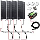ECO-WORTHY 600W Monocrystalline 12v 24v Off Grid Battery Charging Solar Panel Kit: 4pcs 160W Mono Solar Panels+45A Charge Controller+Solar Cable+MC4 Branch Connectors Pair+Z Bracket Mounts