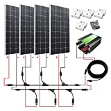 ECO-WORTHY 600W Monocrystalline 12v 24v Off Grid Battery Charging Solar Panel Kit: 4pcs 160W Mono Solar Panels+45A Charge Controller+Solar Cable+MC4 Branch Connectors Pair+Z Bracket Mounts