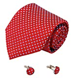 Red Dots Silk Necktie Cufflinks Set Red Father's Day Accessories Ties for Men A2090 One Size Red