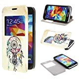ivencase View Window Painting Art Dream Catcher Style Design PU Leather Flip Case Cover for Samsung Galaxy S5 mini SM G800