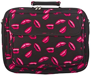 Pink Lips Padded Laptop Notebook Computer Bag by World Traveler