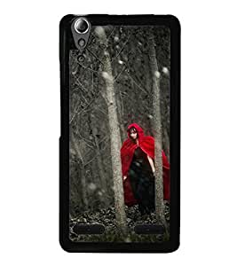 Fuson Premium 2D Back Case Cover Girl in mask With yellow Background Degined For Lenovo A6000 Plus
