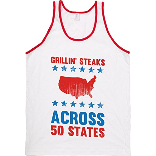 Human Grillin' Steaks Across 50 States White/Red Small T-Shirt