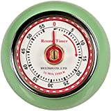 Fox Run Retro Kitchen Timer with Magnet, Mint Green