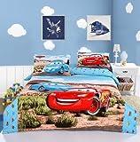 Disney Cars Blue Duvet Set 4 Piece Queen- Reactive Kids Duvet 100% Cotton