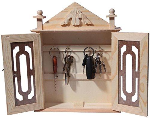 Wooden Key Box / Organizer   Brown Wood Key Rack Cabinet Chest Holder  Storage   11