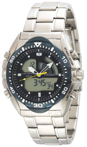 Pulsar Men's PP4005 Tech Gear Analog-Digital Silver-Tone Stainless Steel Watch