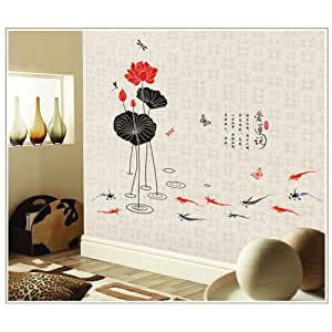 Anself Home Decor Wall Sticker Wall Art Paper Mural Decal Lotus Living Room Home