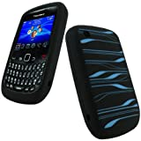 iGadgitz Black & Blue Striped Silicone Skin Case Cover for BlackBerry Curve Gemini 8520 & Curve 3G 9300 + Screen Protectorby iGadgitz