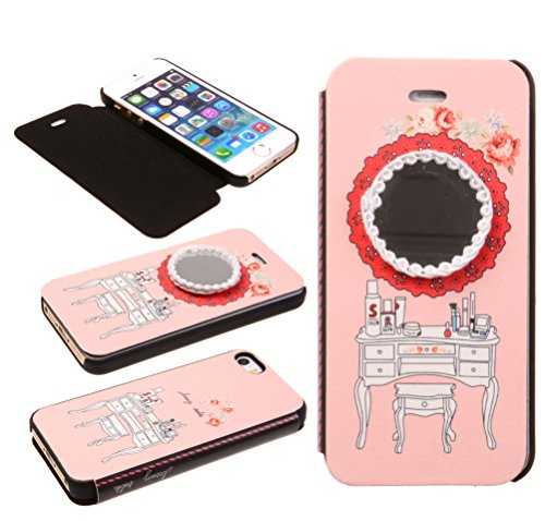 Big Dragonfly Sweet Design Dresser Bureau With Real Mirror Folio Cover Case For Apple Iphone 5/ 5S (Pink) front-862642
