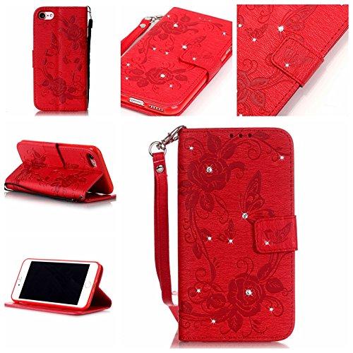 BONROY® Coque pour iPhone 7 (4,7 Zoll),Housse en cuir pour iPhone 7 (4,7 Zoll),imprimé étui en cuir PU Cuir Flip Magnétique Portefeuille Etui Housse