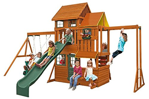 Ultimate Deluxe Premium Fun Outdoor Wooden Swing Set Playhouse Clubhouse Playset Backyard Home Activity 19.3Lx12W10inFT Max capacity 110 lbs 49.9kg per child 10-year limited wooden component warranty (Tabletop Playhouses For Kids compare prices)