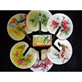 12 Folding Paper Fans - Pretty Chinese Designs - Girls Party Loot Bag Filler