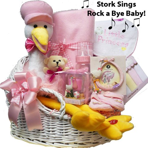 Imagen de Rock A Bye Baby Singing Plush Stork Cesta de Regalo - Blue Boys o Girls Pink