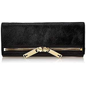 Ted Baker Large Zip Leather Clutch,Black,One Size