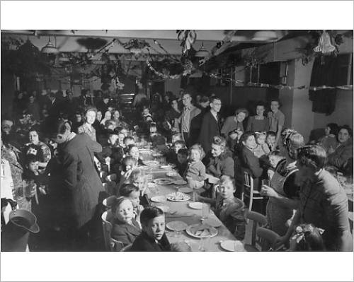 Photographic Print Of A Community Christmas Tea Party