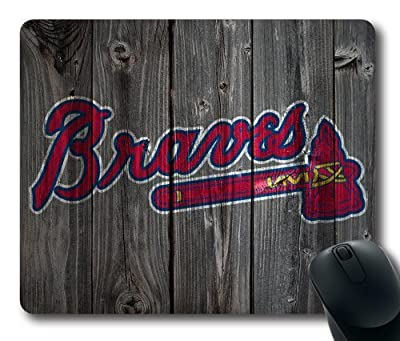 Atlanta Braves Wood Look Mouse Pad, Customized Rectangle Mousepad Diy By Bestsellcase