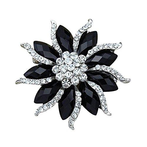 Contever® Gioielli di Moda Fiore Spilla Pin da Donna con Fantasia Bling Strass