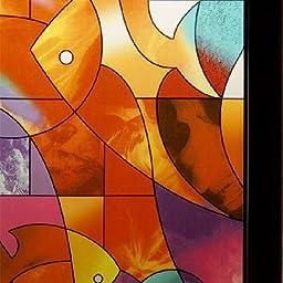 Bason Colorful Abstract Fish Art Window Film
