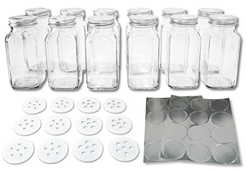 Deluxe Large Square Glass Spice Bottles Set of 12 Jars with Silver Metal Lids, Shaker Tops and Labels by SpiceLuxe - 6 oz Holds 50% More Than Standard Bottles (Spice Jars 6oz compare prices)