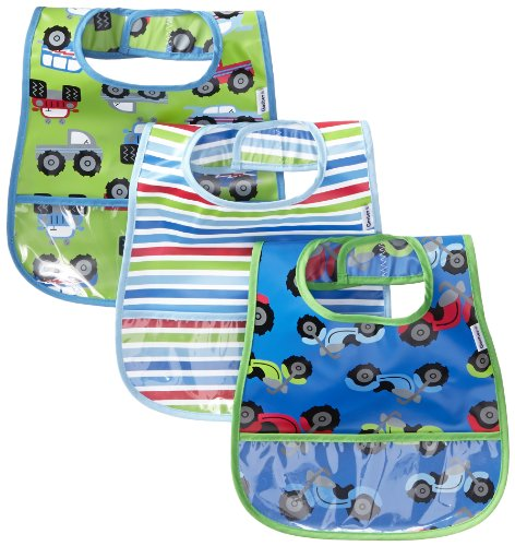 Gerber Baby-Boys Newborn Boys 3 Pack Peva Feeder Bib With Crumbcatcher, Multi/Blue, One Size