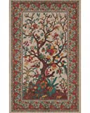 Cream Tree of Life Indian Bedspread, Queen Size