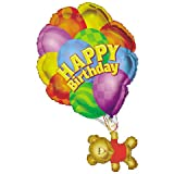 Birthday Bear With Balloon Helium Shape  1 per package