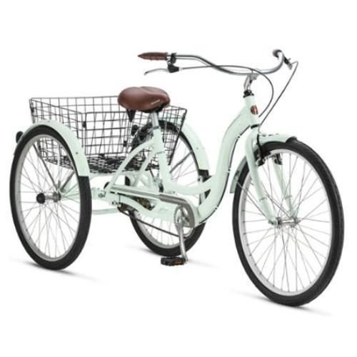 Adult Schwinn Tricycle Three (3) Wheeled Trike Men's Women's Bicycle Red Mint Green Blue Silver Grey Bike with Metal Wire Shopping Basket Beach Cruiser (Mint Green)